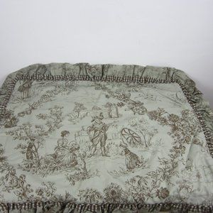 French Country Toile Pillow Sham Sage/Chocolate